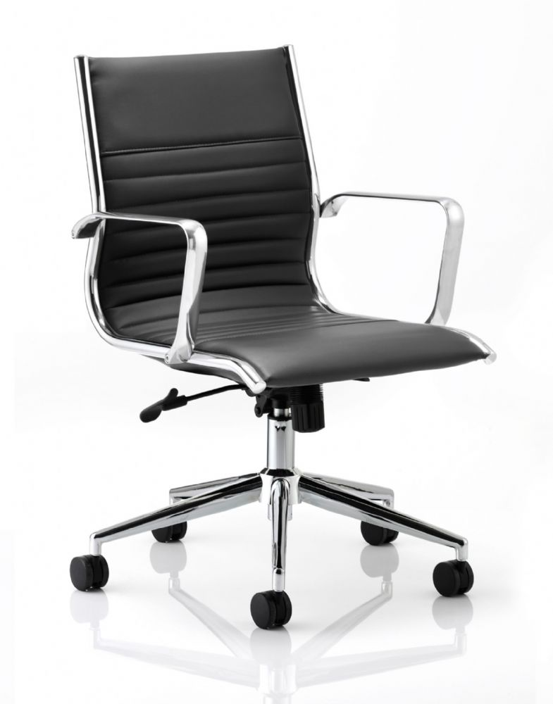 Ritz Part Ribbed Executive Chair Meeting Medium Back Fixed Chrome Arms Various Leathers
